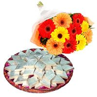 12 Mix Gerbera with 1 Kg Kaju Barfi