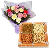 12 Mixed Carnation With 500 gms Dry Fruits