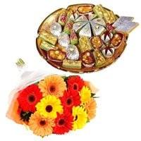 500 gm Assorted Kaju Sweets with 12 Mix Gerbera