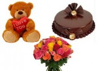 12 Mix Rose Bunch , Half Kg Chocolate Cake & 6 inches teddy Bear