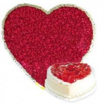 Grand Heart Roses With Heart Cake