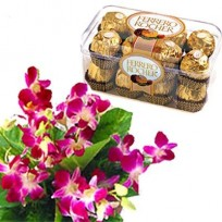 Orchids with chocolates