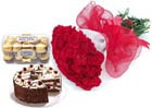 15 Rose Bunch, 12 Kg Chocolate Cake with 16 Pc Ferrero Rocher Chocolate