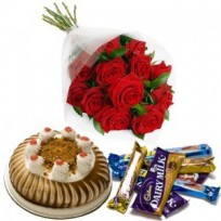 12 Red Rose Bunch 500gms Chocolate Cake with Mix Chocolate