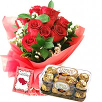 a bouquet of 12 roses, 16 Pc. Ferrero Rocher chocolate Box and 1 love card