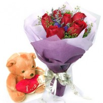 Ten stems of red roses bunch with 6 inches cute teddy bear