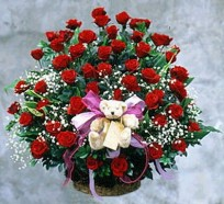 50 Red Rose Basket and a cute Teddy for your lovely valentine
