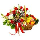 12 Mixed Flower Bunch with 2 Kg Mixed Fresh Fruit