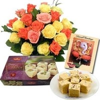 500gm soan papdi sweet with bunch of 10 mixed seasonal flowers and a diwali greeting card.