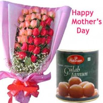 10 Mix roses Bunch with 1 Kg Gulab Jamun