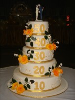 5 Tier 50th wedding anniversary Cake of 5Kg   (On Two Days Prior Order)