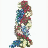 3-4 feet tall exotic arrangement of 10 blue orchids, 24 white carnations and 50 roses