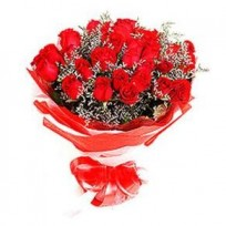 24 Red Rose bouquet wrapped in dark red cellophane