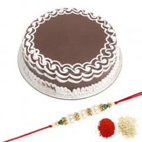 Chocolate cake with rakhi