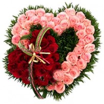 Arrangement of 2 beautiful pink and red hearts of 80 fresh roses made for each other