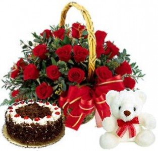 half kgCake-smallTeddy-24 red rose basket