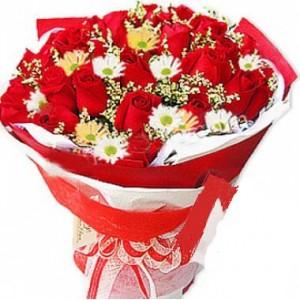Bunch of 15 Roses 10 Gerberas
