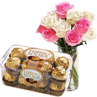 10 Pink White Roses Vase 16 Pcs Ferrero Rocher