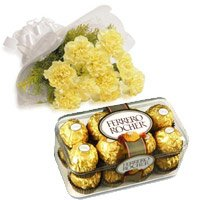 10 Yellow Carnation 16 Pcs Ferrero Rocher Chocolate