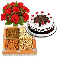 12 Mix Carnation, 500 gms Black Forest Cake and 500 gms Dry Fruits