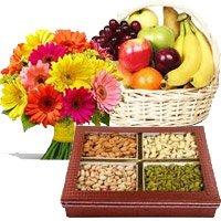 12 Mix Gerberas, 3 Kg Fresh Fruit Basket, Half Kg Mixed Dry Fruits