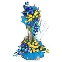 15 Orchids 50 Roses Flower Arrangement