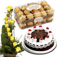 15 Yellow Rose Basket 500 gms Black Forest Cake 16 Pcs Ferrero Rocher