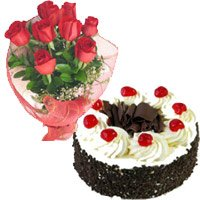 1 Kg Black Forest Cake 12 Red Roses Bouquet