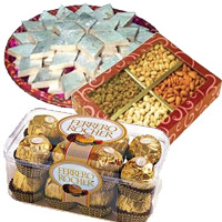 1 Kg Dry Fruits,500 gms Kaju Katli and 16 Pcs Ferrero Rocher