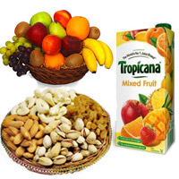 1 Kg Fresh Fruits Basket with 500 gm Mix Dry Fruits and 1 ltr Mix Fruit Juice