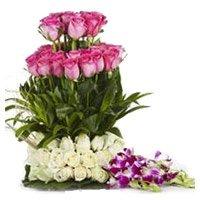 20 Pink Rose 25 White Rose 6 Orchids Flower Basket