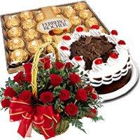 24 Red Roses Basket, Half Kg Black Forest Cake, 24 pcs Ferrero Rocher