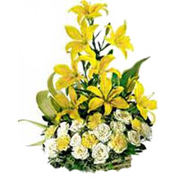 24 Yellow Glad White Flower Basket