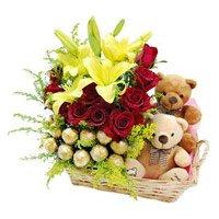 2 Lily 12 Roses 16 Ferrero Rocher Twin Small Teddy Basket