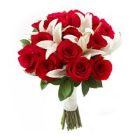 2 White Lily 10 Red Roses Bouquet