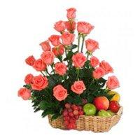 36 Pink Roses and 2 Kg Fruit Basket