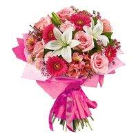 3 Lily 6 Rose 6 Carnation 6 Gerbera Bouquet