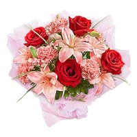 3 Pink Lily 6 Red Rose 6 Pink Carnation Bouquet