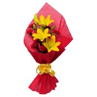 3 Yellow Lily 15 Red Carnation Bouquet