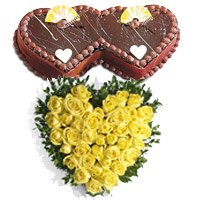 40 Yellow Roses Heart 2 Kg Twin Heart Shape Chocolate Cake