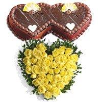 40 Yellow Roses Heart 2 Kg Twin Heart Shape Chocolate Cake