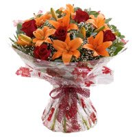 4 Orange Lily 12 Red Roses Flower Bouquet