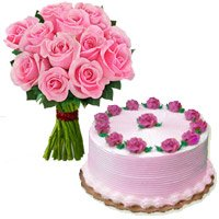 500 gms Strawberry Cake 12 Pink Roses Bouquet