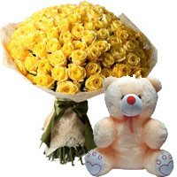 50 Yellow Rose Bunch 6 Inch Teddy Bear
