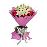 5 White Lily 10 Red Carnation Flower Bouquet