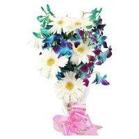 6 Blue Orchid 6 White Gerbera Flower Bouquet