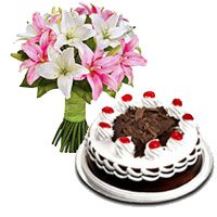 6 Pink White Lily Stem 500 gms Black Forest Cake