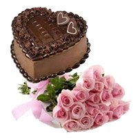 Bunch of 15 Pink Roses 1 Kg Heart Shape Chocolate Truffle Cake