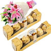 Ferrero Rocher Chocolates 10 Pieces with 2 Lily Stem