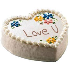 1 kg Sumptuous Heart Shaped Vanilla Cake